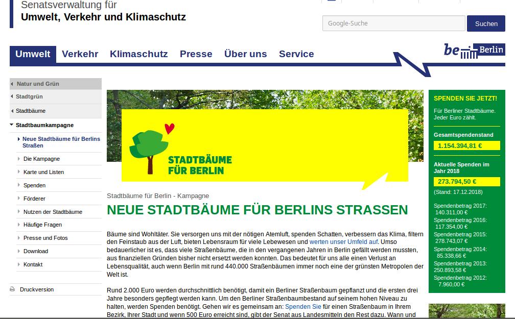 Stadtbäume Webseite